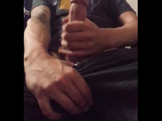Straight Guy Caught Playing With His Big White Cock Cumshot